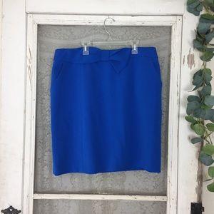 Anne Klein Blue Bow Front Pencil Skirt w/ pockets